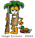 #25044 Clip Art Graphic Of A Tropical Palm Tree Cartoon Character Duck Hunting Standing With A Rifle And Duck