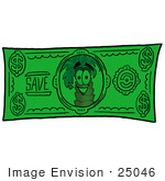 #25046 Clip Art Graphic Of A Tropical Palm Tree Cartoon Character On A Dollar Bill