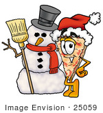 #25059 Clip Art Graphic Of A Cheese Pizza Slice Cartoon Character With A Snowman On Christmas