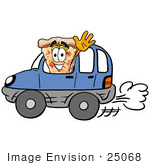 #25068 Clip Art Graphic Of A Cheese Pizza Slice Cartoon Character Driving A Blue Car And Waving