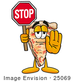 #25069 Clip Art Graphic of a Cheese Pizza Slice Cartoon Character Holding a Stop Sign by toons4biz
