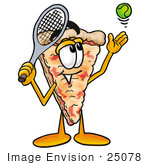 #25078 Clip Art Graphic Of A Cheese Pizza Slice Cartoon Character Preparing To Hit A Tennis Ball