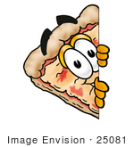 #25081 Clip Art Graphic Of A Cheese Pizza Slice Cartoon Character Peeking Around A Corner