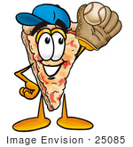 #25085 Clip Art Graphic Of A Cheese Pizza Slice Cartoon Character Catching A Baseball With A Glove