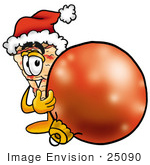 #25090 Clip Art Graphic Of A Cheese Pizza Slice Cartoon Character Wearing A Santa Hat Standing With A Christmas Bauble
