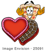 #25091 Clip Art Graphic Of A Cheese Pizza Slice Cartoon Character With An Open Box Of Valentines Day Chocolate Candies