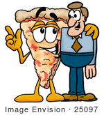 #25097 Clip Art Graphic Of A Cheese Pizza Slice Cartoon Character Talking To A Business Man
