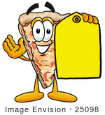 #25098 Clip Art Graphic Of A Cheese Pizza Slice Cartoon Character Holding A Yellow Sales Price Tag