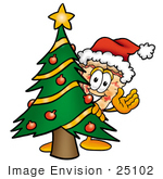 #25102 Clip Art Graphic Of A Cheese Pizza Slice Cartoon Character Waving And Standing By A Decorated Christmas Tree