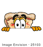 #25103 Clip Art Graphic of a Cheese Pizza Slice Cartoon Character Peeking Over a Surface by toons4biz