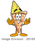 #25105 Clip Art Graphic Of A Cheese Pizza Slice Cartoon Character Wearing A Birthday Party Hat