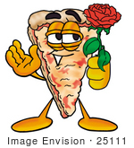 #25111 Clip Art Graphic Of A Cheese Pizza Slice Cartoon Character Holding A Red Rose On Valentines Day
