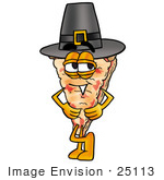#25113 Clip Art Graphic Of A Cheese Pizza Slice Cartoon Character Wearing A Pilgrim Hat On Thanksgiving