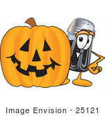 #25121 Clip Art Graphic Of A Ground Pepper Shaker Cartoon Character With A Carved Halloween Pumpkin