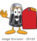 #25123 Clip Art Graphic Of A Ground Pepper Shaker Cartoon Character Holding A Red Sales Price Tag