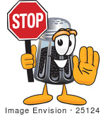 #25124 Clip Art Graphic Of A Ground Pepper Shaker Cartoon Character Holding A Stop Sign
