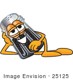 #25125 Clip Art Graphic Of A Ground Pepper Shaker Cartoon Character Resting His Head On His Hand