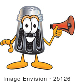 #25126 Clip Art Graphic Of A Ground Pepper Shaker Cartoon Character Screaming Into A Megaphone
