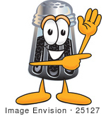 #25127 Clip Art Graphic Of A Ground Pepper Shaker Cartoon Character Waving And Pointing