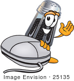 #25135 Clip Art Graphic Of A Ground Pepper Shaker Cartoon Character With A Computer Mouse