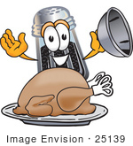 #25139 Clip Art Graphic Of A Ground Pepper Shaker Cartoon Character Serving A Thanksgiving Turkey On A Platter