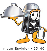 #25140 Clip Art Graphic Of A Ground Pepper Shaker Cartoon Character Dressed As A Waiter And Holding A Serving Platter