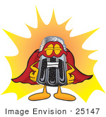 #25147 Clip Art Graphic Of A Ground Pepper Shaker Cartoon Character Dressed As A Super Hero