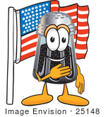 #25148 Clip Art Graphic Of A Ground Pepper Shaker Cartoon Character Pledging Allegiance To An American Flag