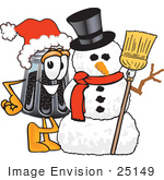 #25149 Clip Art Graphic Of A Ground Pepper Shaker Cartoon Character With A Snowman On Christmas