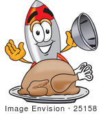 #25158 Clip Art Graphic Of A Space Rocket Cartoon Character Serving A Thanksgiving Turkey On A Platter