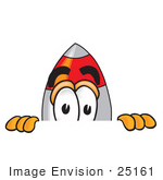 #25161 Clip Art Graphic Of A Space Rocket Cartoon Character Peeking Over A Surface