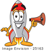 #25163 Clip Art Graphic Of A Space Rocket Cartoon Character Holding A Megaphone