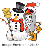 #25164 Clip Art Graphic Of A Space Rocket Cartoon Character With A Snowman On Christmas