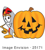 #25171 Clip Art Graphic Of A Space Rocket Cartoon Character With A Carved Halloween Pumpkin