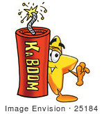 #25184 Clip Art Graphic Of A Yellow Star Cartoon Character Standing With A Lit Stick Of Dynamite