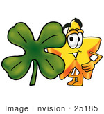 #25185 Clip Art Graphic Of A Yellow Star Cartoon Character With A Green Four Leaf Clover On St Paddy'S Or St Patricks Day