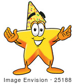 #25188 Clip Art Graphic of a Yellow Star Cartoon Character Wearing a Birthday Party Hat by toons4biz