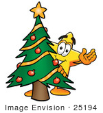 #25194 Clip Art Graphic of a Yellow Star Cartoon Character Waving and Standing by a Decorated Christmas Tree by toons4biz