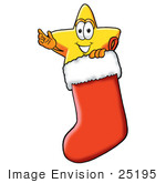 #25195 Clip Art Graphic of a Yellow Star Cartoon Character Inside a Red Christmas Stocking by toons4biz