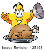 #25198 Clip Art Graphic of a Yellow Star Cartoon Character Serving a Thanksgiving Turkey on a Platter by toons4biz