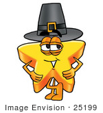 #25199 Clip Art Graphic Of A Yellow Star Cartoon Character Wearing A Pilgrim Hat On Thanksgiving