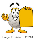 #25201 Clip Art Graphic Of A White Soccer Ball Cartoon Character Holding A Yellow Sales Price Tag