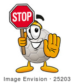 #25203 Clip Art Graphic Of A White Soccer Ball Cartoon Character Holding A Stop Sign