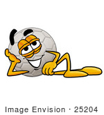 #25204 Clip Art Graphic Of A White Soccer Ball Cartoon Character Resting His Head On His Hand