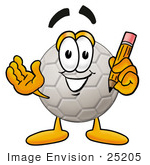 #25205 Clip Art Graphic of a White Soccer Ball Cartoon Character Holding a Pencil by toons4biz