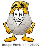 #25207 Clip Art Graphic Of A White Soccer Ball Cartoon Character Wearing A Hardhat Helmet