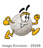 #25208 Clip Art Graphic Of A White Soccer Ball Cartoon Character Running