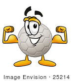 #25214 Clip Art Graphic Of A White Soccer Ball Cartoon Character Flexing His Arm Muscles