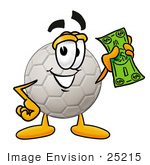 #25215 Clip Art Graphic Of A White Soccer Ball Cartoon Character Holding A Dollar Bill