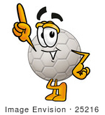 #25216 Clip Art Graphic Of A White Soccer Ball Cartoon Character Pointing Upwards